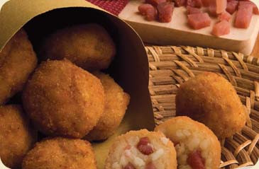 Arancino mignon with ham and cheese