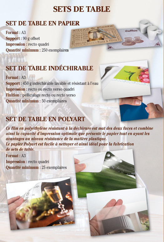 impression sets de table Tournai