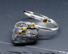 Citrine and silver crossover bangle and ring