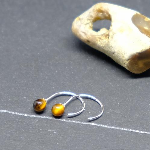 Mini-hoop gemstone earrings