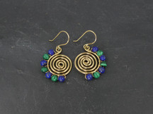 "Lapis lazuli, malachite and 18ct gold ""Villefranche"" earrings"