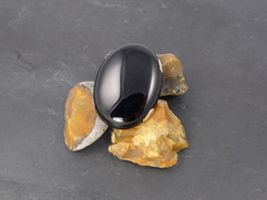 Black onyx and silver gothic-style ring