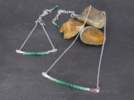 "Silver and ombré green onyx ""Paris"" necklace and bracelet"