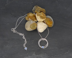 Blue chalcedony and silver entwined rings necklace