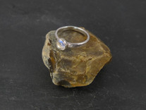 Blue moonstone and silver ring