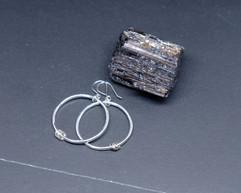 Large hammered silver hoop earrings