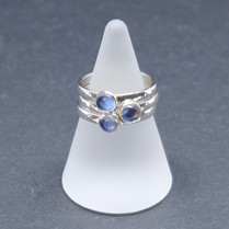 Blue moonstone and silver stacking rings