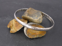 Hammered silver bangle