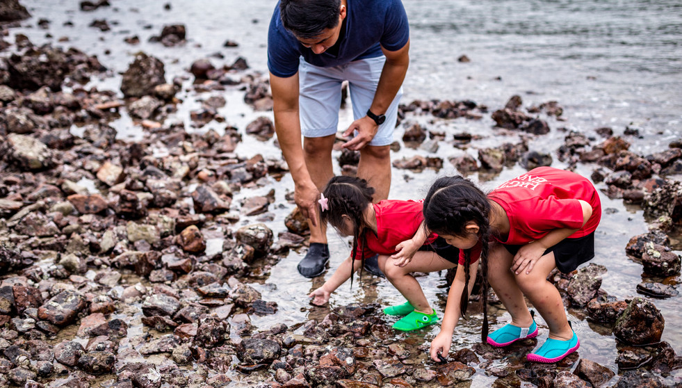 Father looking for sea cucumber with his two daugthers