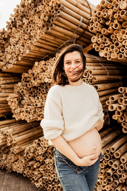 Pregnant woman smiling