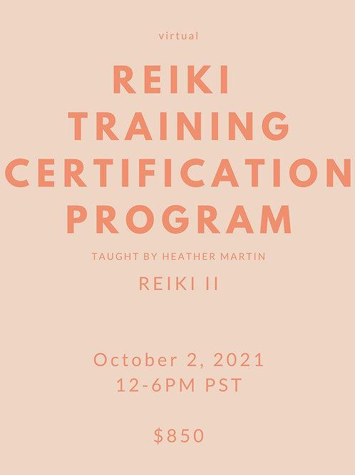 OCTOBER 2 - Virtual Reiki II Certification with Heather Martin