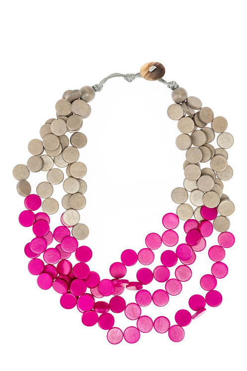 Necklace GREY/FUCHSIA