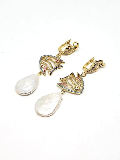 Pearl zircons earrings