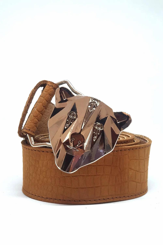 Camel Crocodile print leather Belt