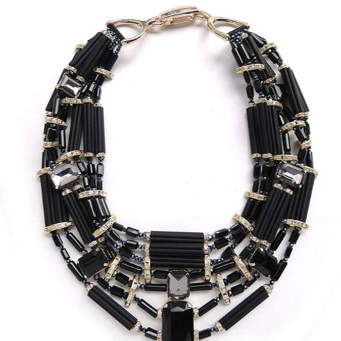 Statment Necklace Black N' Gold