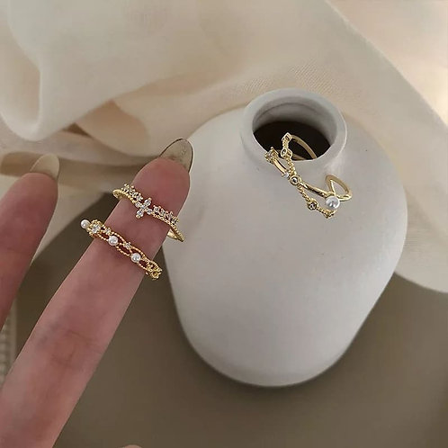 Gold plated  layered rings with Zircons
