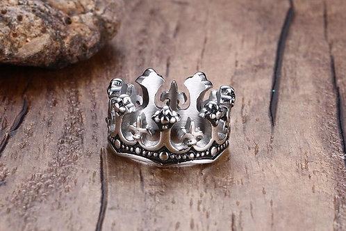 Mens Stainless steel Crown Ring