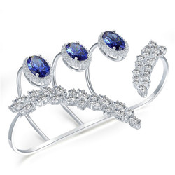 Cubic  Zircons cut  Palm -Rings Brac