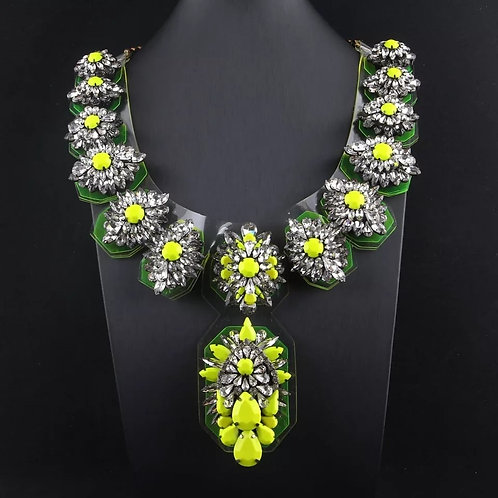 Statement Crystal Necklace NEON colors