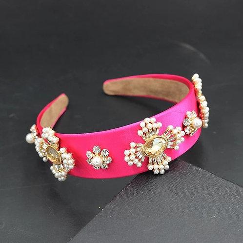 Crystalized Headband fuksia& pearls