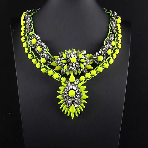 Statement Crystal Necklace NEON yellow