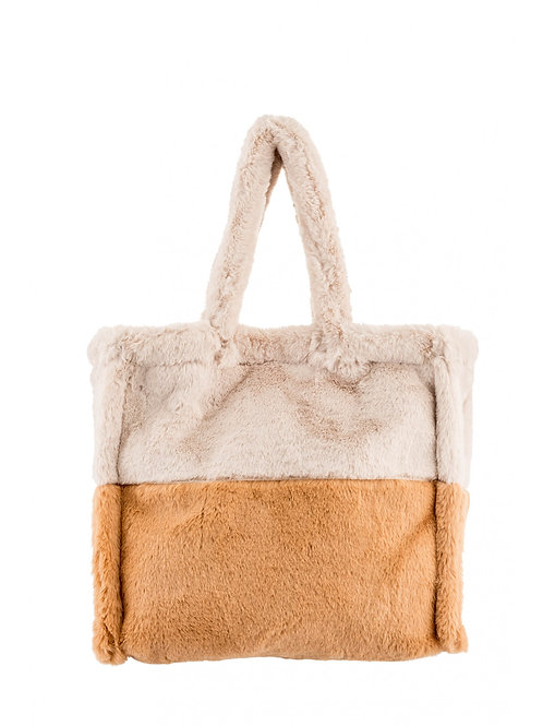 Handbag beige and camel