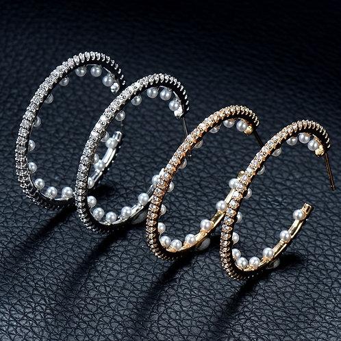 Pearls & Zircons Hoop Pierced Earrings