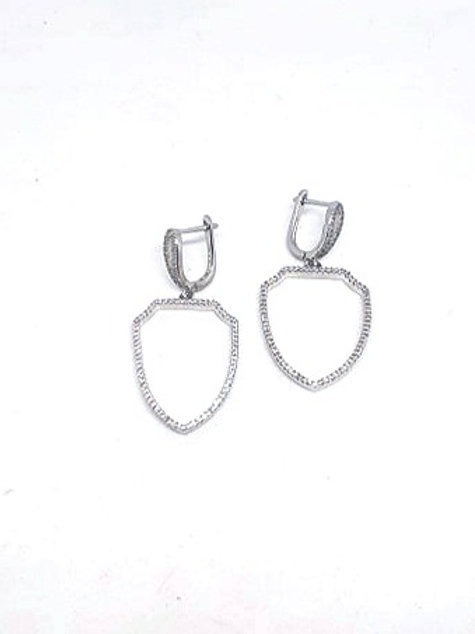 Medium Size white gold plated earrings