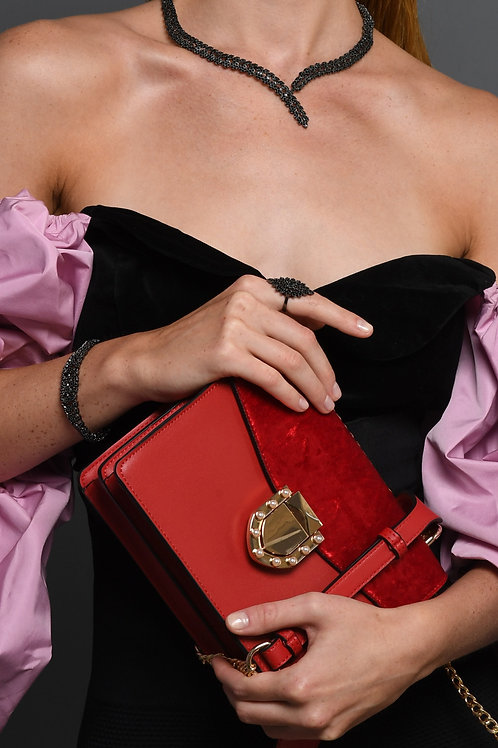 Red velvet Clutch bag with pearl details