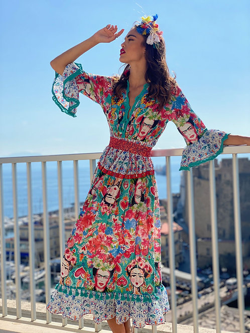 Long V Neck Printed Dress