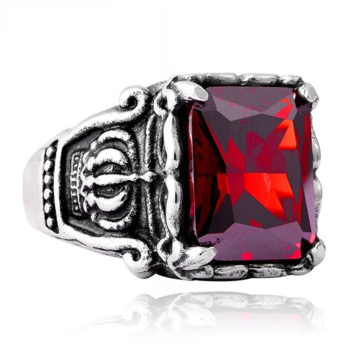 Ruby Stainless steel mens ring