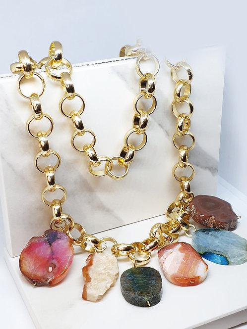 Statement Semiprecious stones double necklace