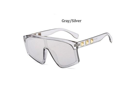 Silver Square-frame  mirror sunglasses