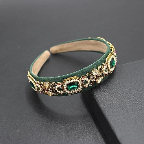 Crystalized Headband baroque style green