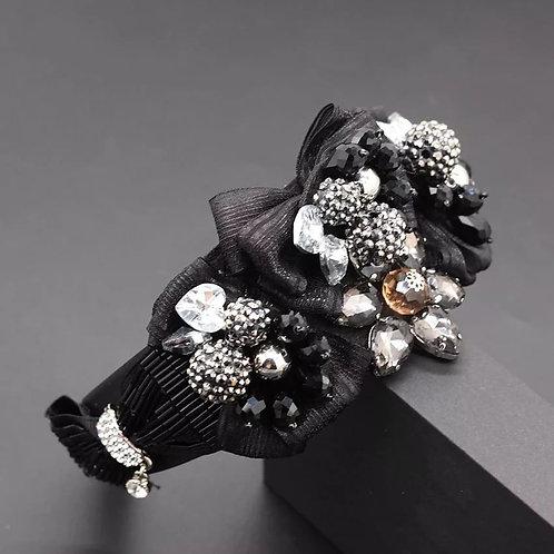 Crystalized  Luxury Floral Headband Black