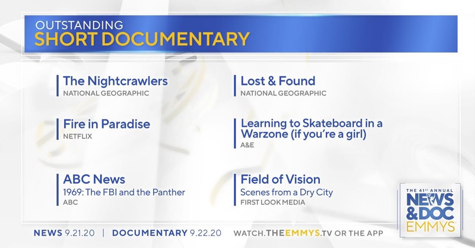 News & Doc 41st Annual Emmy's - NOMINATED for Outstanding Short Form Documentary: The FBI and the Panther by ABC News/Lincoln Square Productions (Producer)