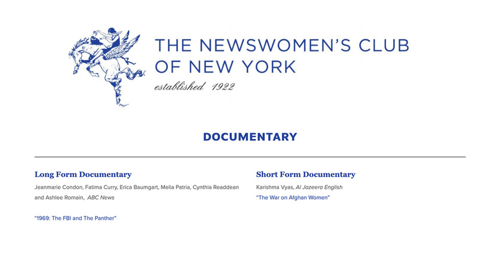 2019 Front Page Awards by Newswomen's Club of NY - WINNER - Long Form Documentary: The FBI and the Panther by ABC News/Lincoln Square Productions (Producer)