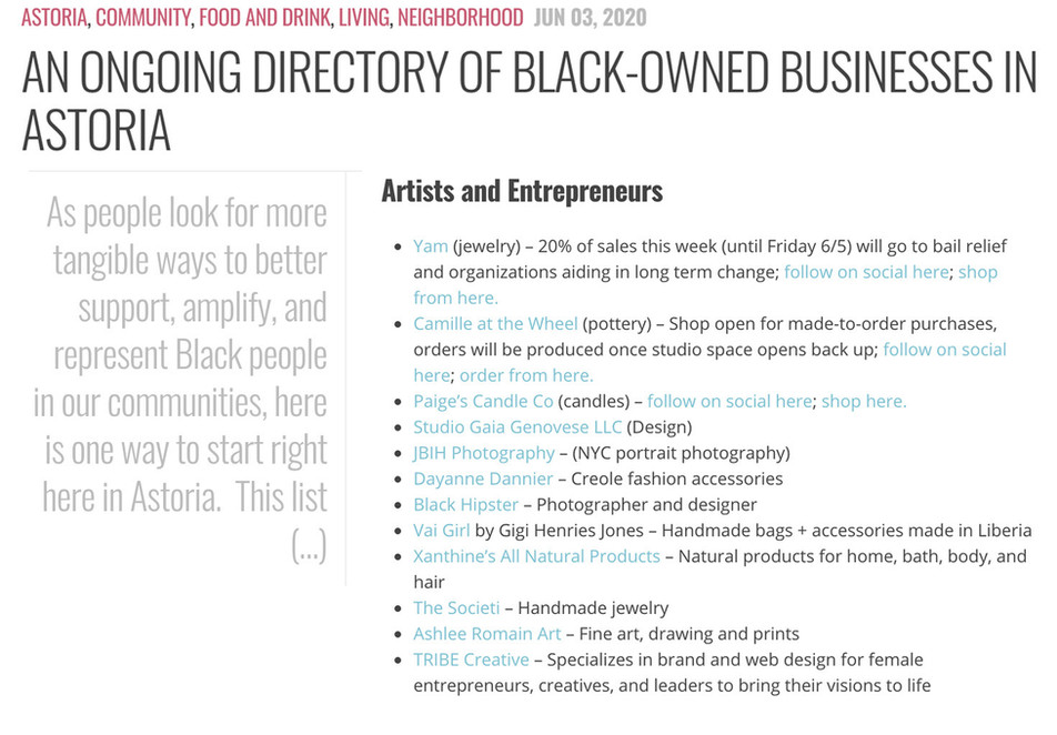 A Directory of Black-Owned Businesses in Astoria
