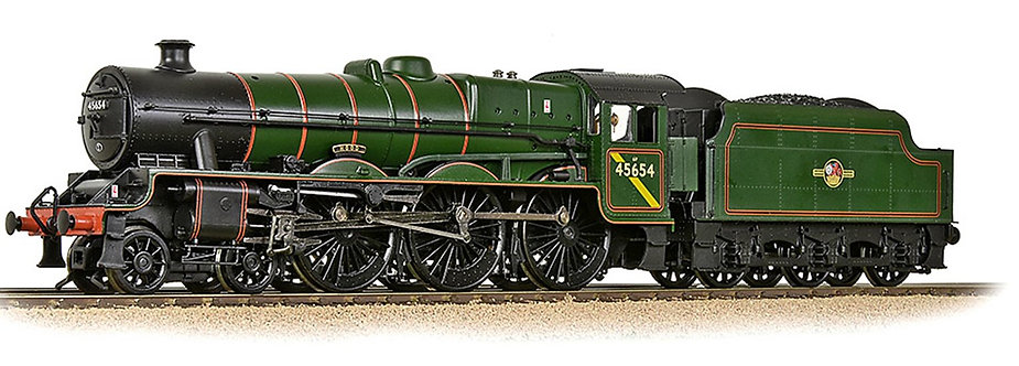 LMS 5XP JUBILEE WITH RIVETED TENDER 45654 'HOOD' BR LINED GREEN (LATE CREST) - D