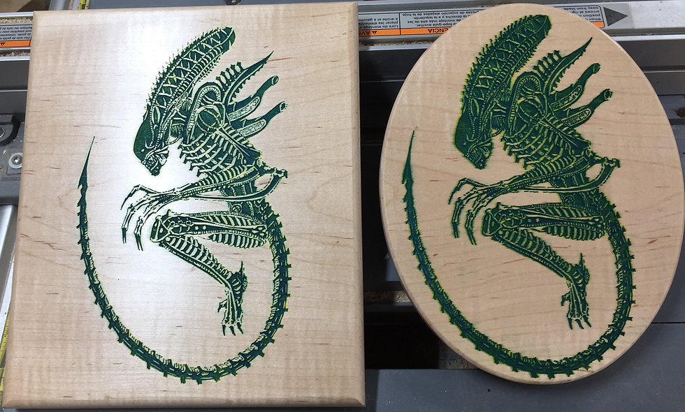 Alien Carvings on Flame Maple