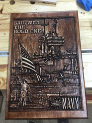 Navy USS Saratoga Carving