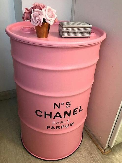 Tonel decorado Chanel n. 5 - Rosa - Tampa remove - Tamanho G