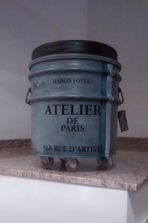 Tambor decorado -Atelier de Paris - PP - Rodas + Puff