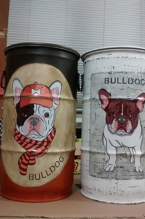 Tambor decorado Bulldog Frances (Marron)- Tampa remove, e alças -P