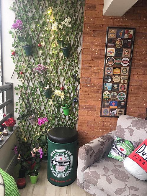 Tonel Decorado Heineken  com Puff  - M
