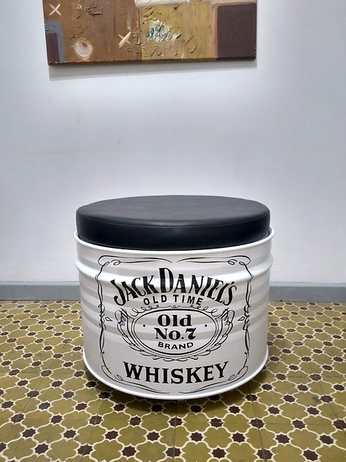 Tambor Decorativo  com Puff Jack Daniels Branco - Tampa destacável