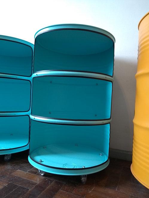 Expositor de tambor para lojas, com vidro e rodízios