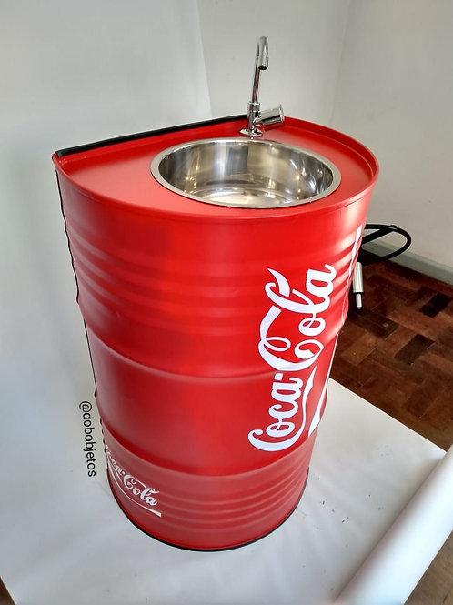Pia de Tambor Recortado com cuba de inox. Coca-Cola