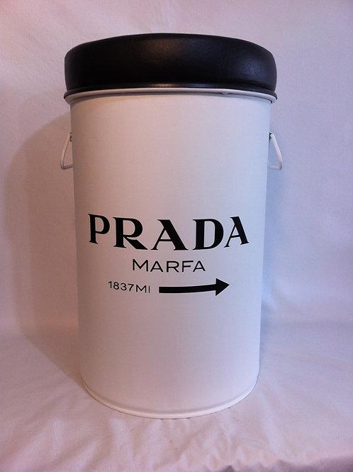 Tonel decorado Prada - Tampa remove, alças e Puff  - M