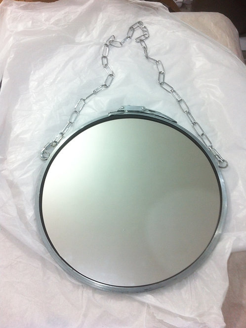 Espelho Industrial 30 cm de diâmetro Aço Natural Escovado.